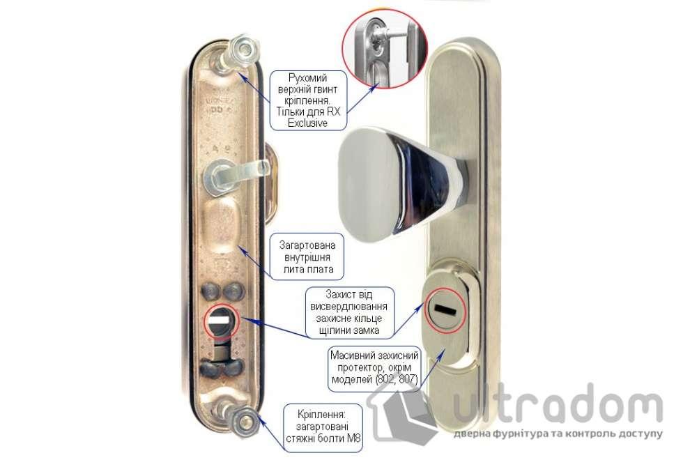 Фурнитура защитная ROSTEX R1 Decor 4 класс  латунь сатин с фикс. ручкой 72-85-90