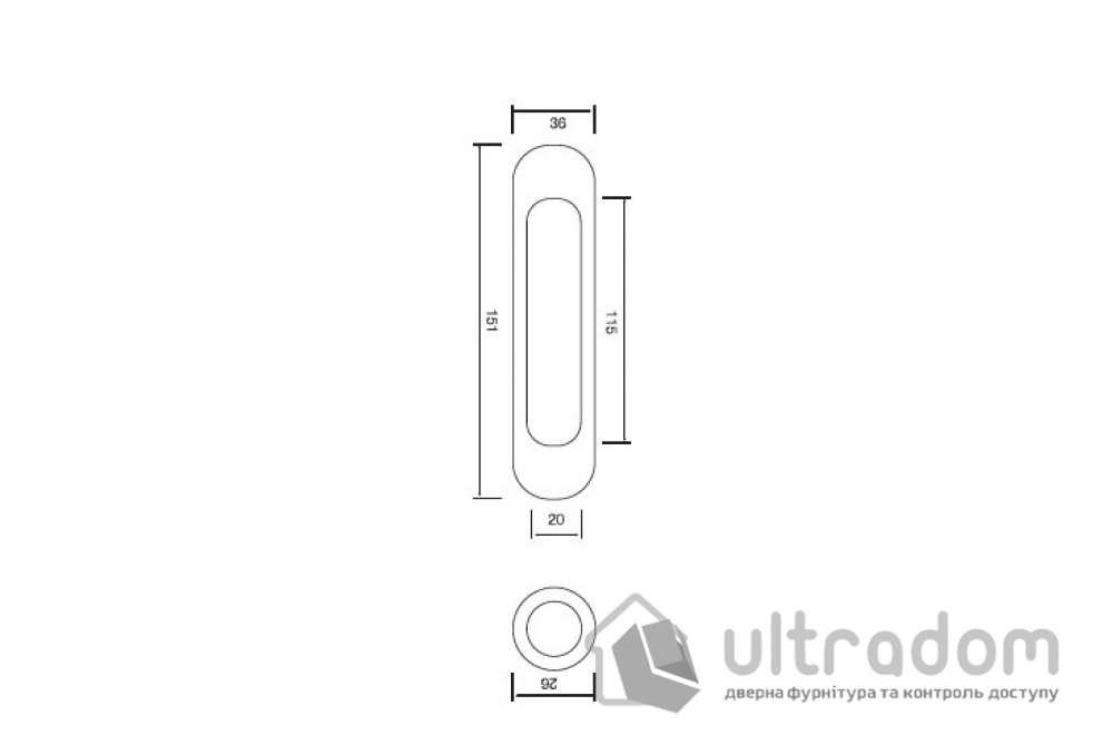Ручки - ракушки для раздвижных дверей SIBA S222 цвет - матовый никель.