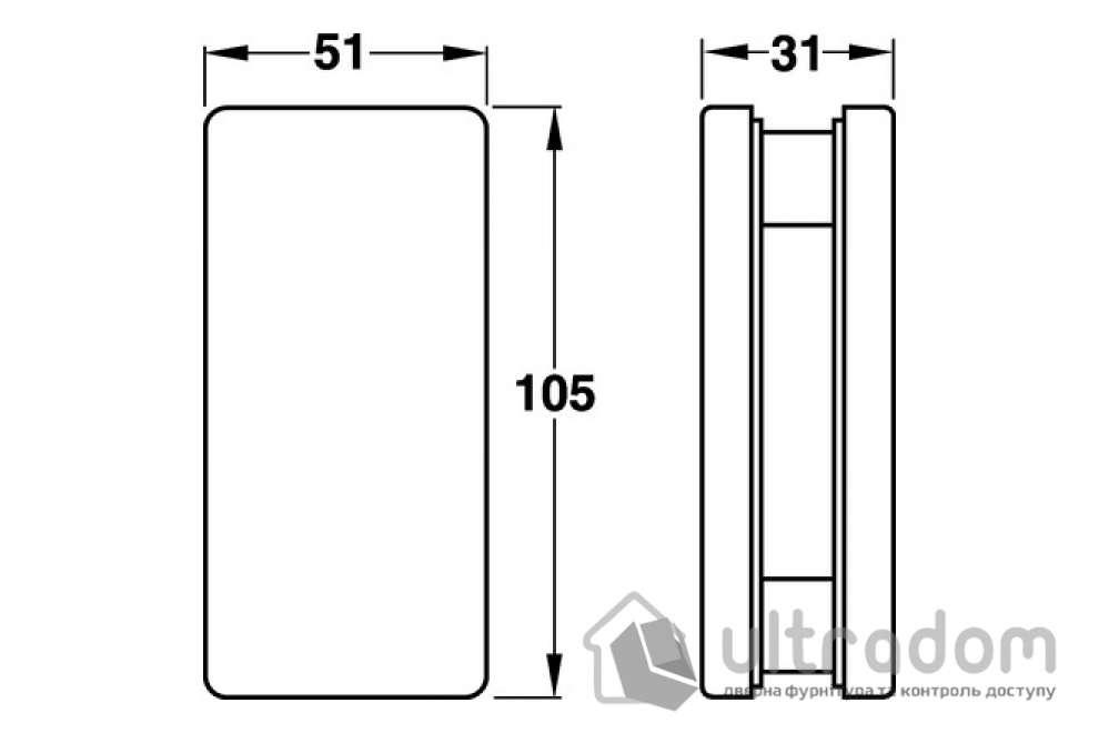 Крепления для стекла, 10-12 мм HAFELE нержавеющая сталь 51 x 105