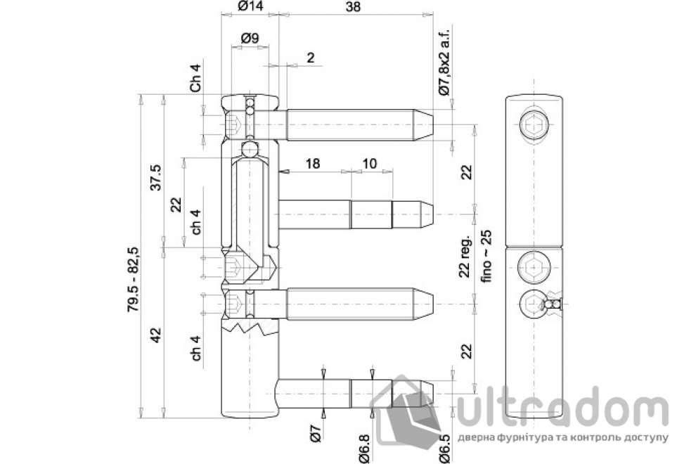 Петля ввертная 3D14 OTLAV EXACTA 4-х штыревая, регулируемая