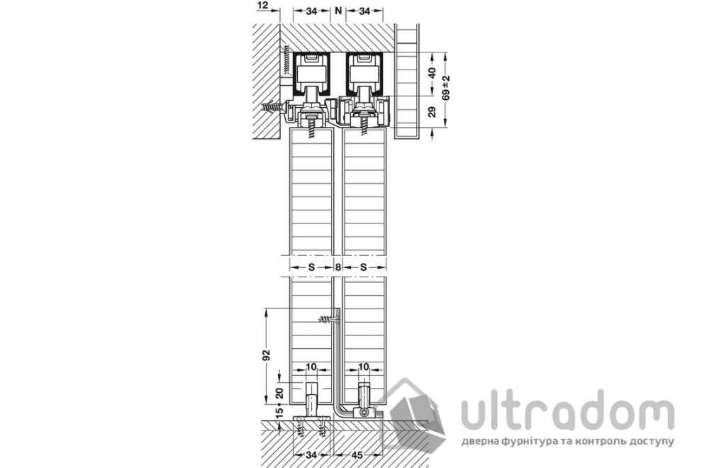HAFELE раздвижная телескопическая система Slido Classic Telescopic 40-120 P