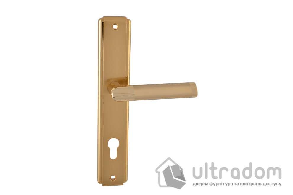Дверная ручка на планке под ключ (85 мм) SIBA Triesta мат.золото-золото