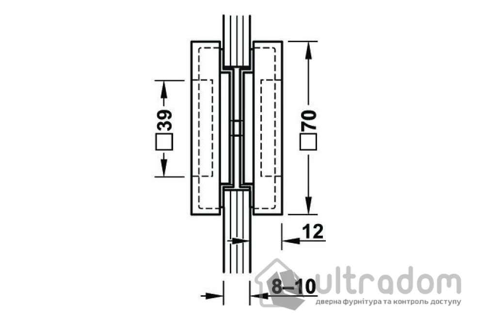 Ручка-ракушка для стеклянных дверей HAFELE, врезная квадратная 70x70 мм