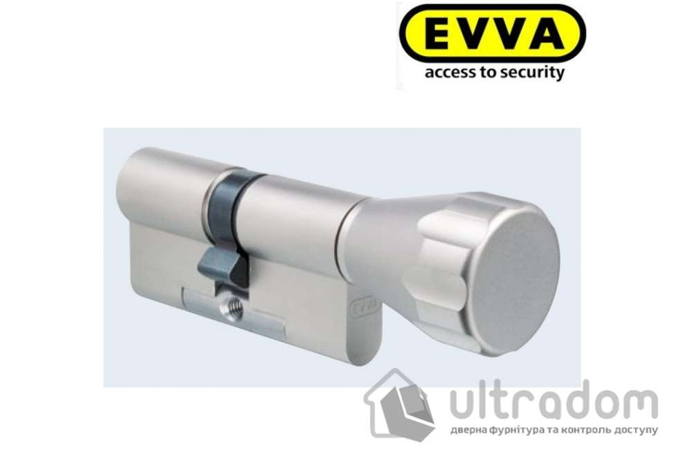 Цилиндр дверной EVVA 3 KS KZ кл-вороток никель 72 мм