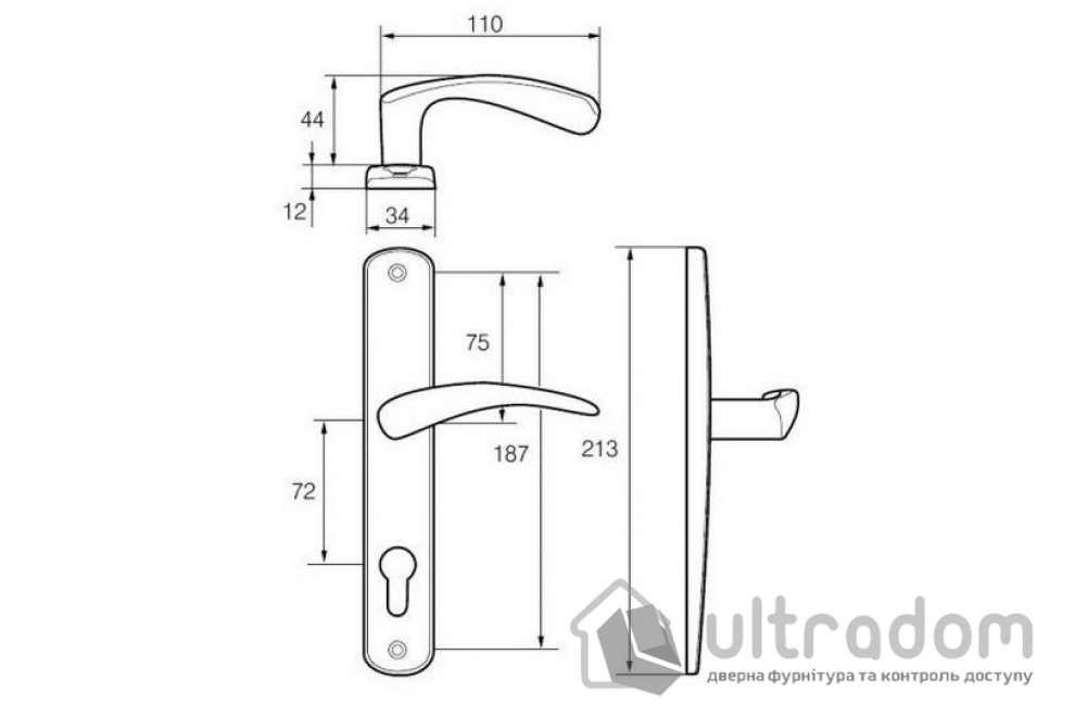 Ручка межкомнатная WC ABLOY 18/011 72мм латунь полированная