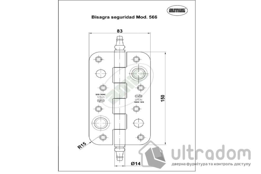 Дверная петля из нержавеющей стали AMIG m.566 150x80x2.8 мм