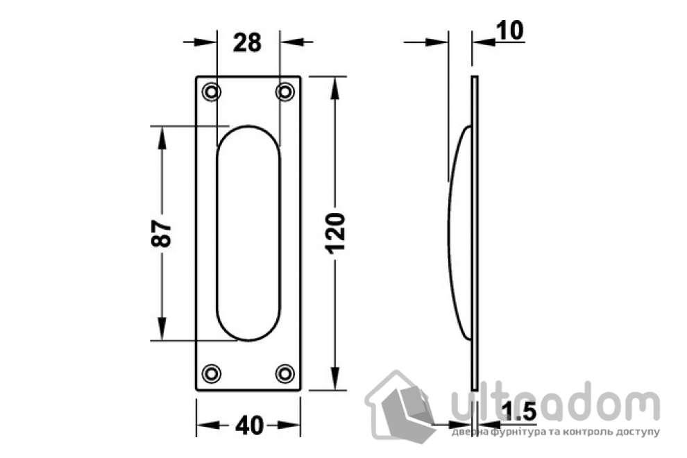 Ручка-ракушка HAFELE квадратная 40x120 мм