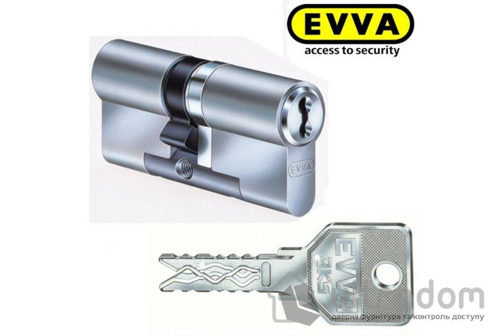 Цилиндр дверной EVVA 3 KS DZ кл-кл., никель 82 мм