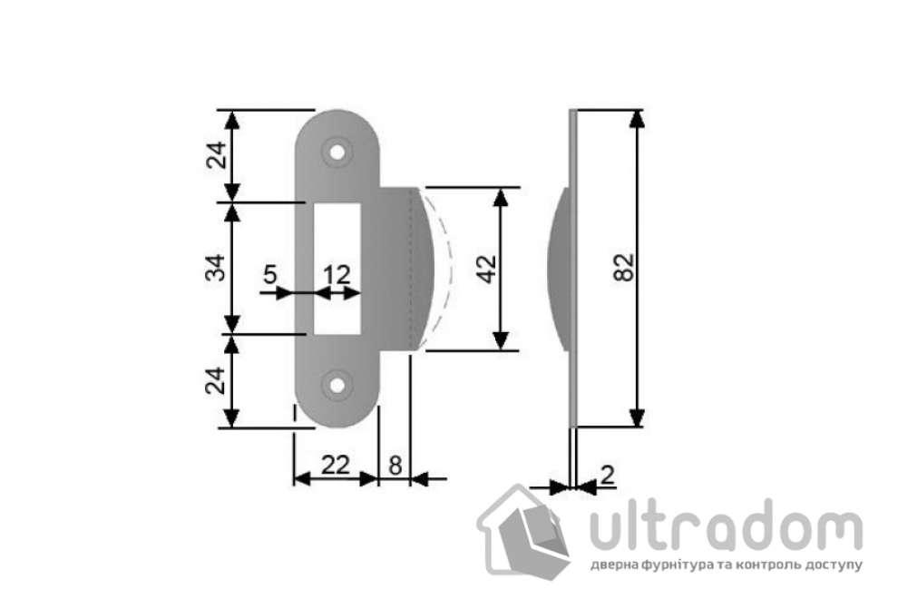 Ответка для механизма AGB, стандартная, цвет - матовый хром.