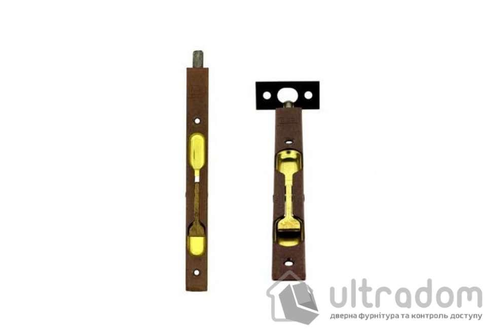 Дверной торцевой шпингалет AGB 160 мм, перекидной, цвет - коричневая бронза
