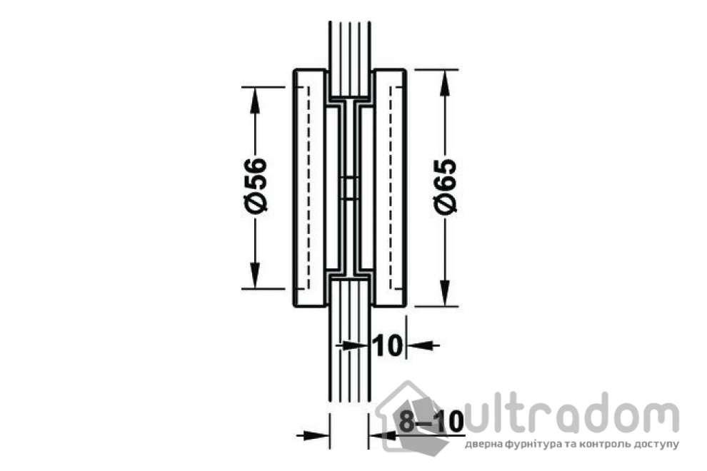 Ручка-ракушка для стеклянных дверей HAFELE, врезная круглая 65 мм