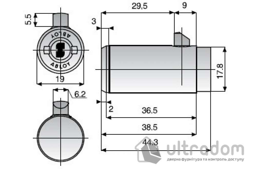 Цилиндр для замков с Т-образной ручкой ABLOY CL291