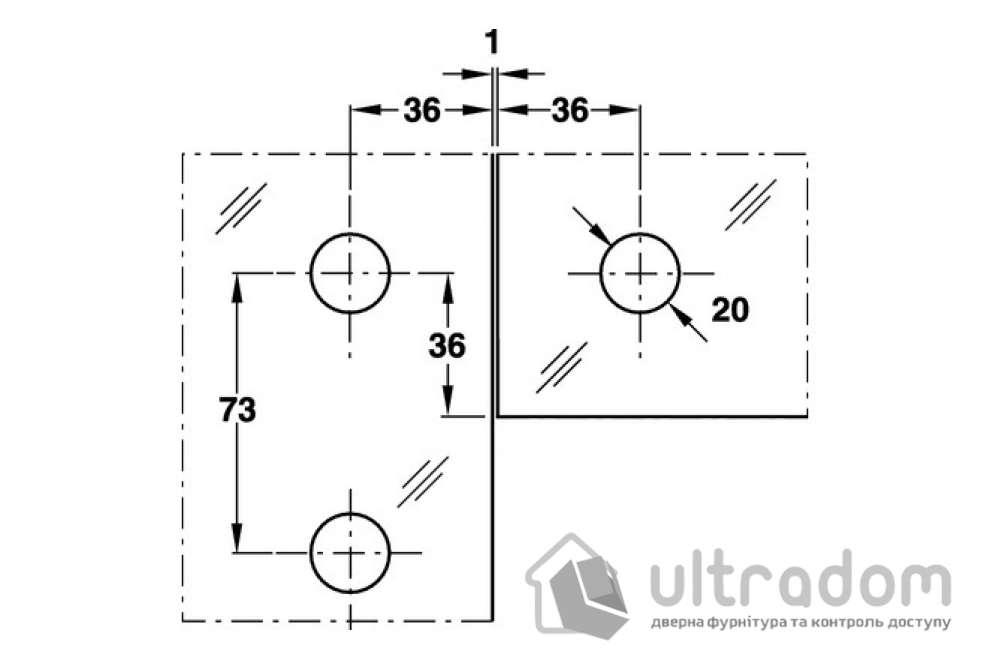 Угловой соединитель HAFELE  нержавеющая сталь 106 x 106 x 53