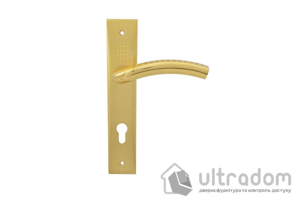 Дверная ручка на планке под ключ (85-62 мм) SIBA Bari мат.латунь-латунь