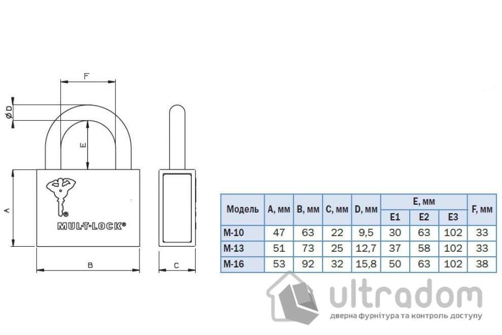 Навесной  замок  Mul-T-Lock M10-13-16 /C2 H-58-63мм Classic