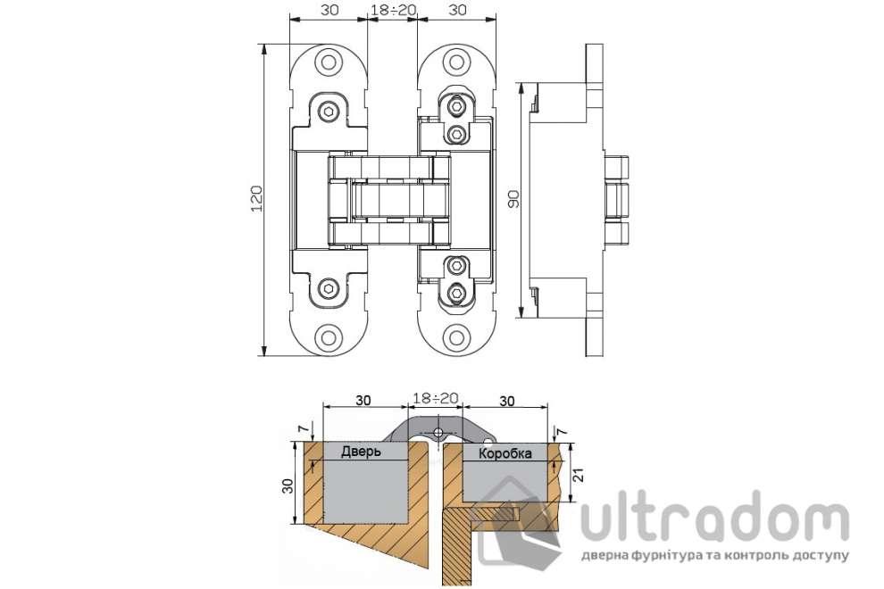 Скрытая дверная 3D петля OTLAV Invisacta IN300 30х120 мм матовый хром