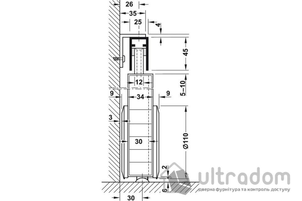HAFELE раздвижная система с опорным роликом Slido Classic Design  150 U