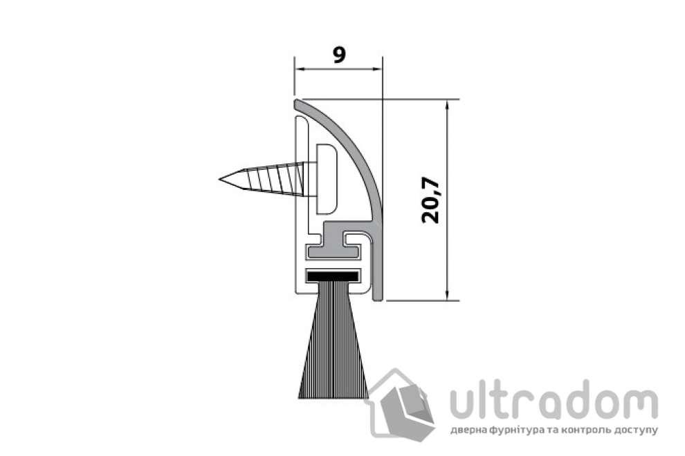 Накладной порог-щетка Comaglio m.1255 80 см