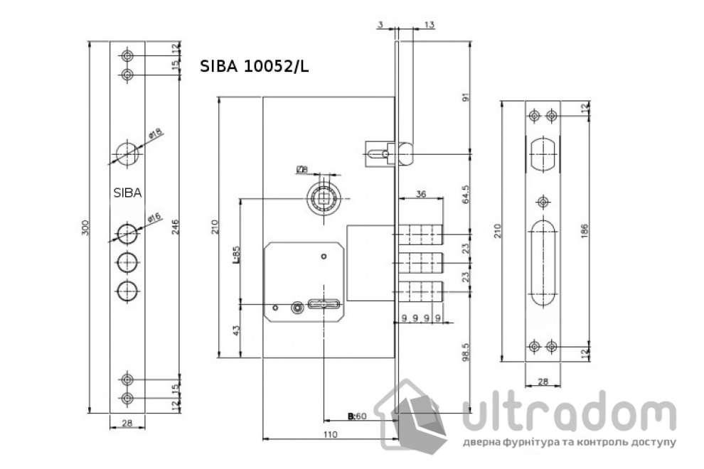 Основной сувальдный замок SIBA 10052/L