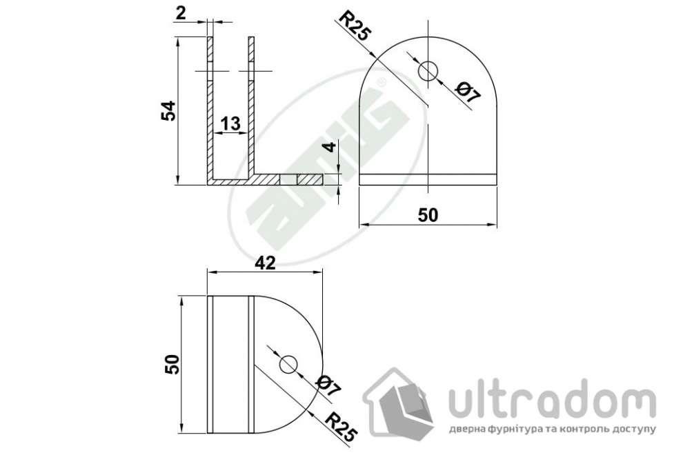 Amig крепёж для HPL-панелей из нержавеющей стали мод.112 54*42*2 мм