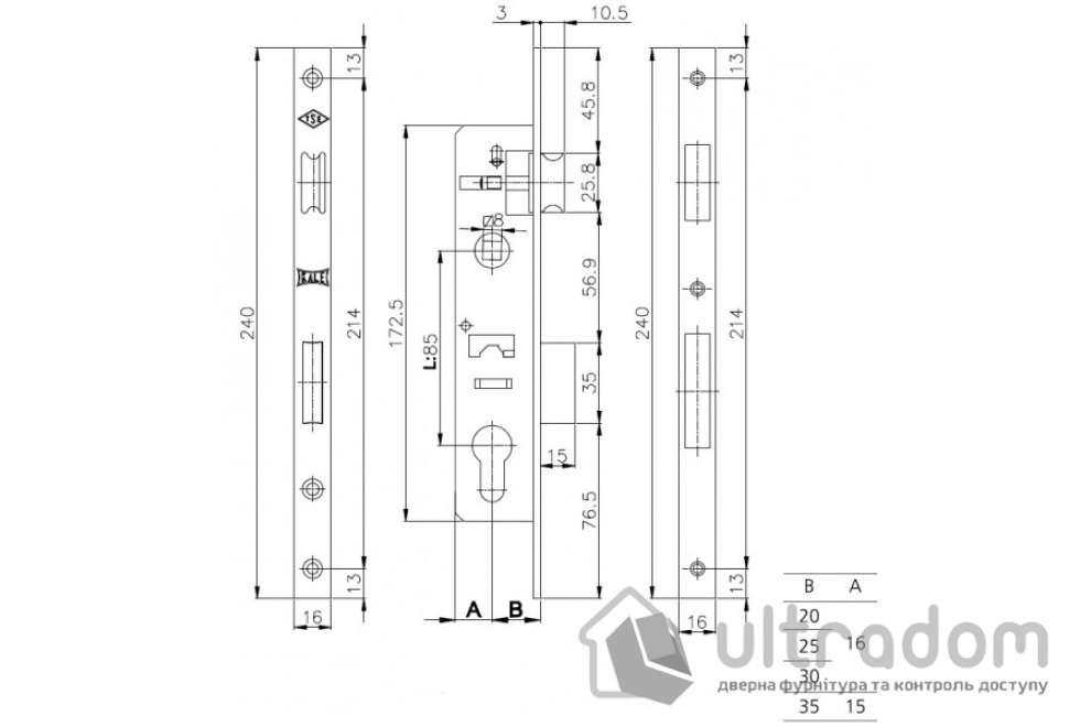 Корпус замка с защелкой SIBA 10053P-25 для металлопластиковой двери.