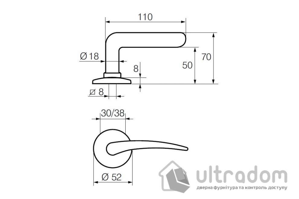 Дверная ручка   ABLOY АКАТЕМІА 133/002 латунь полированная