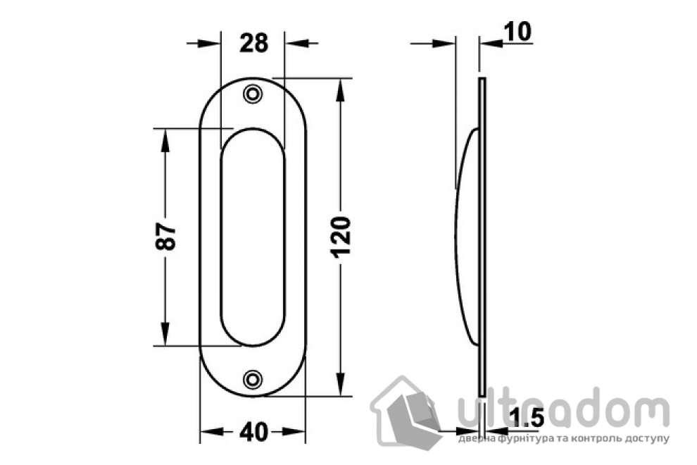 Ручка-ракушка HAFELE овальная 40x120 мм