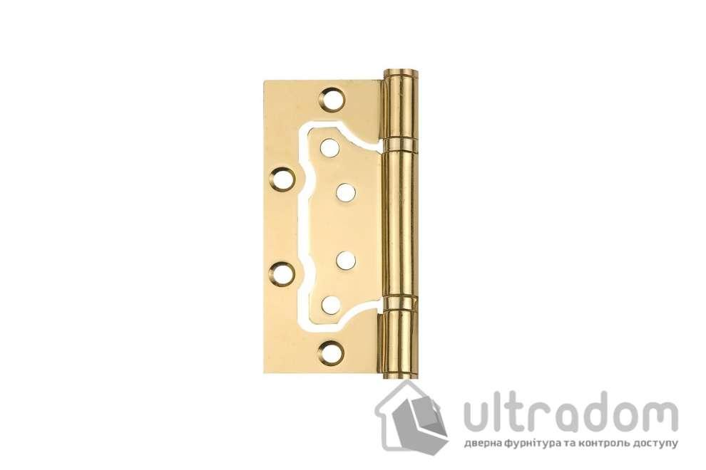 Петли дверные накладные SIBA 100 мм, цвет - полированная латунь