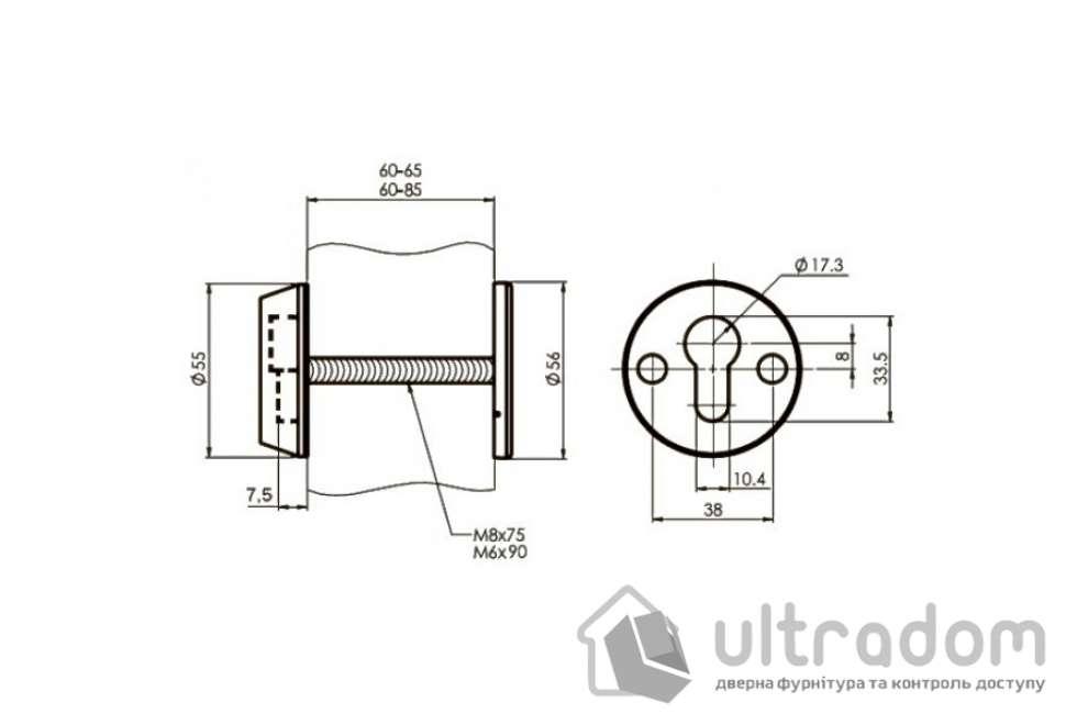 Броненакладка для цилиндра  ESETY SL3 40-75 мм, латунь полированная