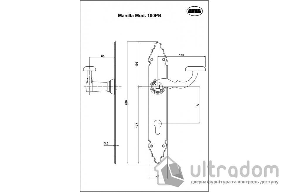 Дверная кованая ручка на планке Amig m.108 стандарт 72-85 мм