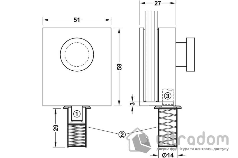 Ригель-шпингалет закрепляющий HAFELE  нержавеющая сталь 51 х 59