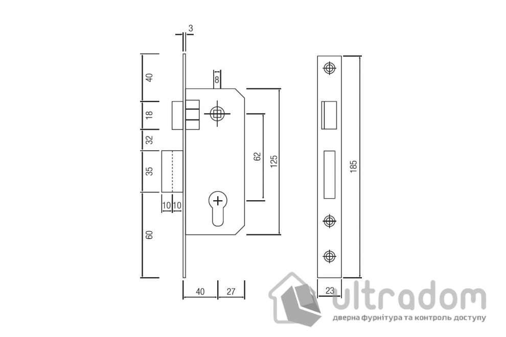 Корпус замка основного SIBA 10037/D - 62/40 мм, цвет - латунь
