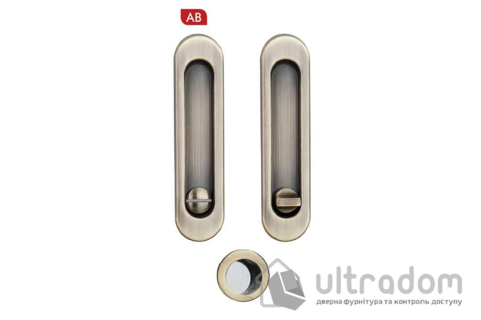 Ручки - ракушки для раздвижных дверей с механизмом WC SIBA S223, цвет - античная бронза