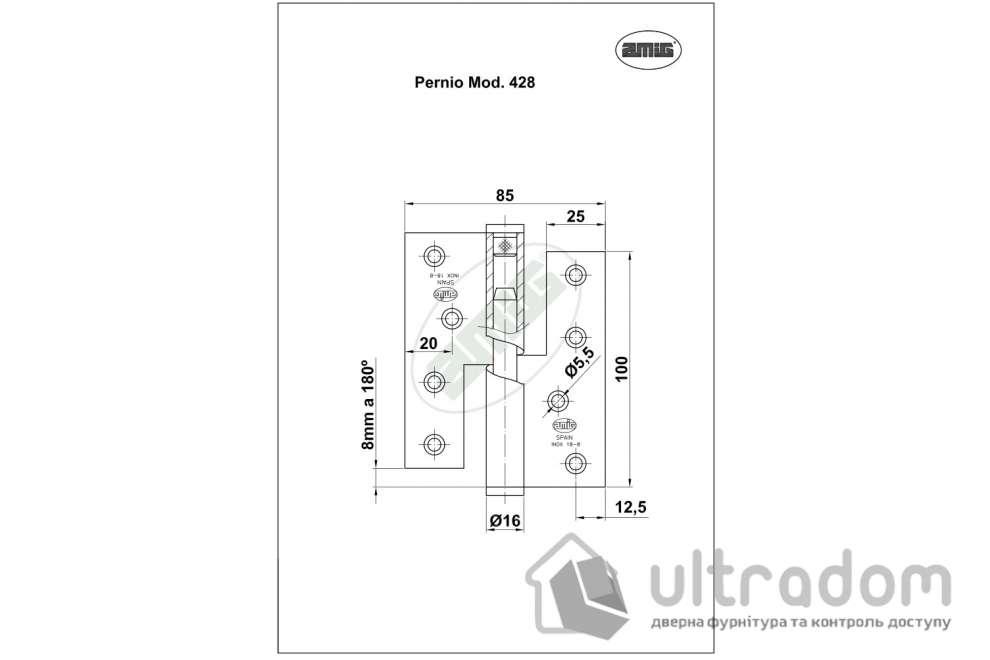 Дверная петля съёмная из нержавеющей стали AMIG m.428 100x88x3 мм