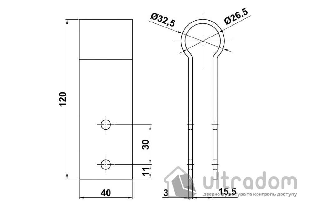 Amig скоба-крепёж для трубы и HPL-панели из нержавеющей стали мод.201 120*40*3 мм