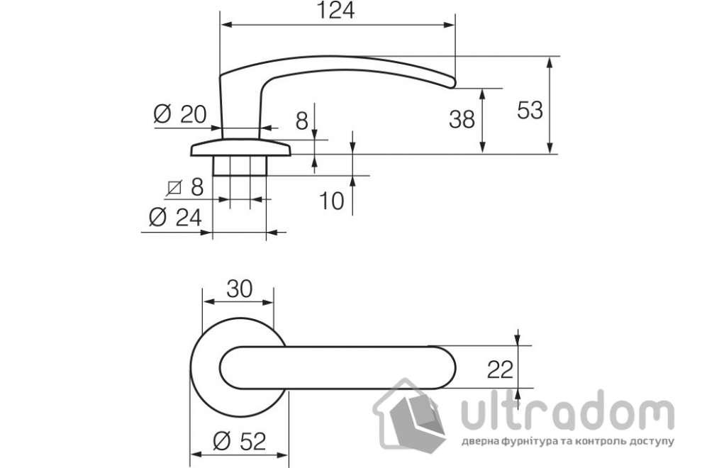 Дверная ручка   ABLOY POLAR 6/002 латунь полированная