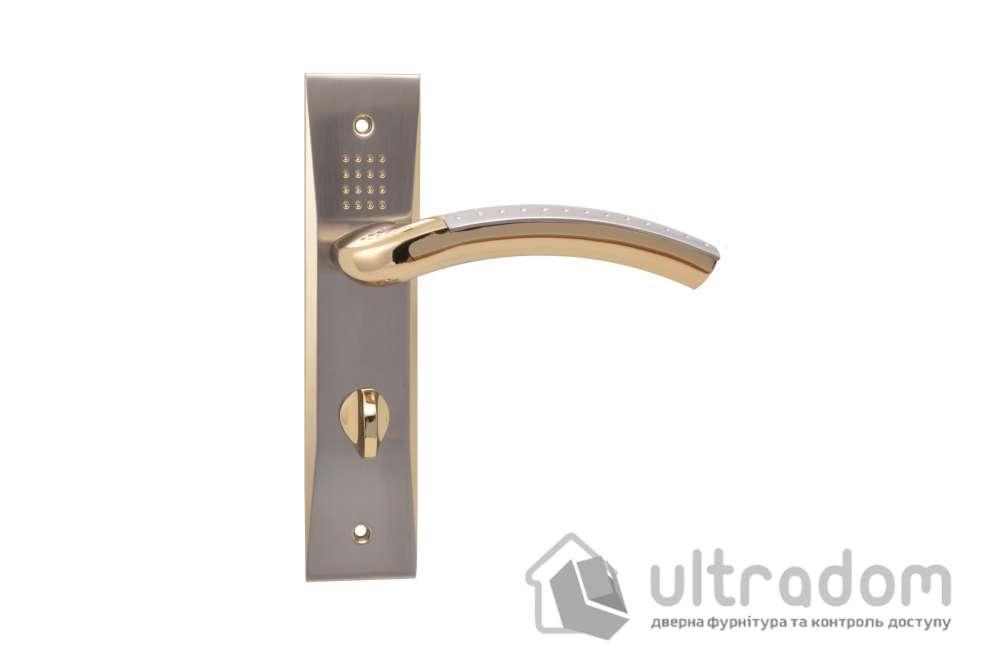 Ручка межкомнатная WC на планке (62 мм) SIBA Bari, мат.никель - золото
