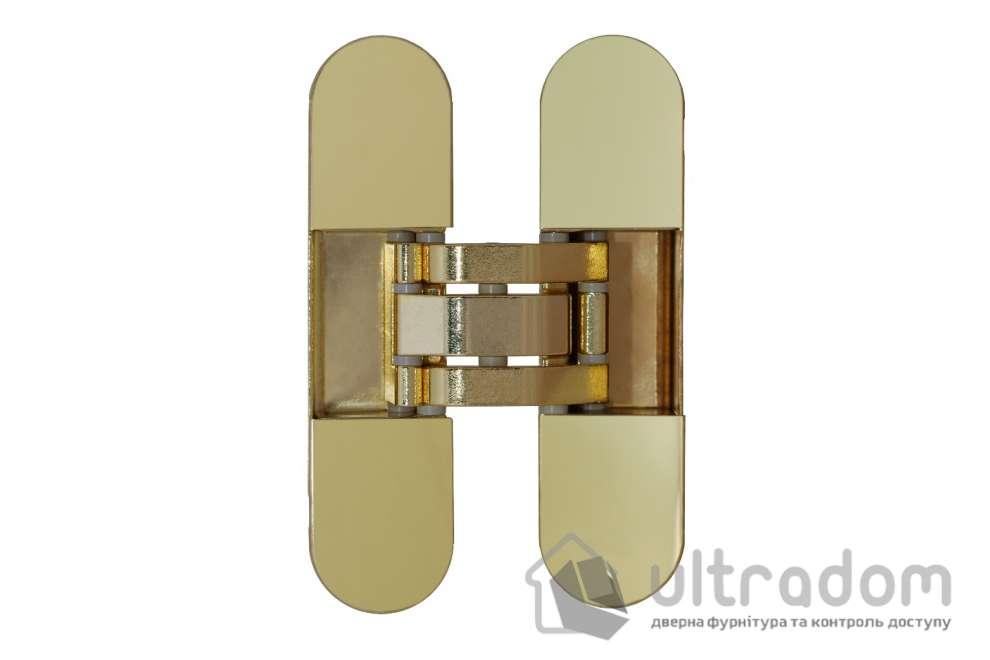 Скрытая дверная 3D петля OTLAV Invisacta IN300 30х120 мм  полированное золото