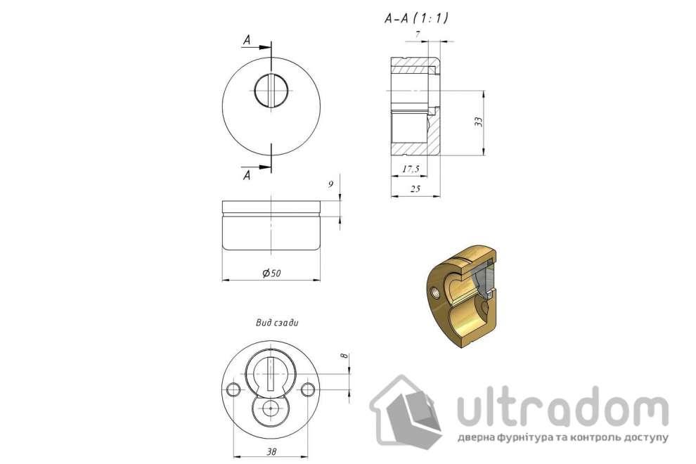 Броненакладка для цилиндра утапливаемая Mottura, латунь полированная