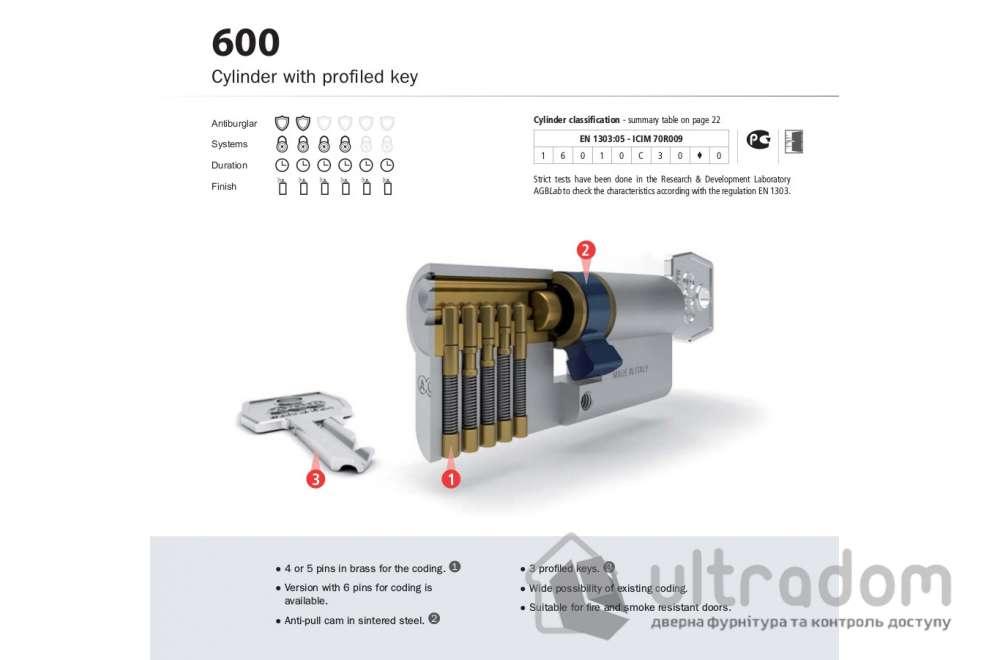 Цилиндр дверной с простым ключом AGB SCUDO 600 ключ-вороток 90 мм