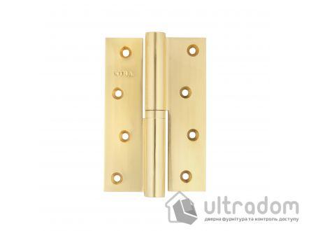 Петля дверная латунная SIBA 120 мм, усиленная, с регулировкой, полированная латунь BP