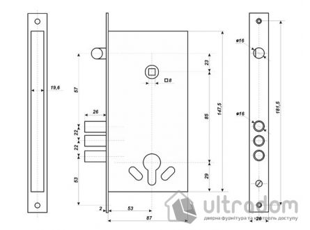 Набор замка с полиамидными ручками ГНОМ для металлической двери
