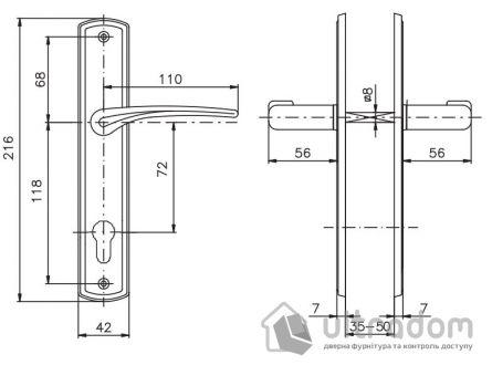 Дверная ручка ROSTEX KREDO  PZ ручка-ручка 72 мм хром сатин
