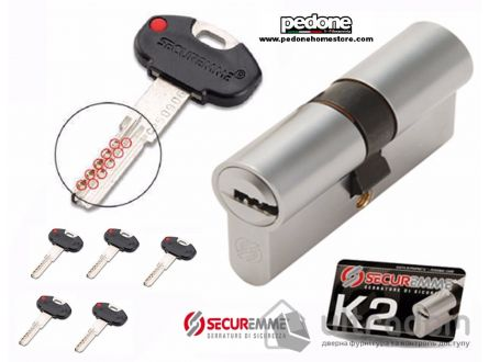 Цилиндр дверной Securemme К2 ключ-ключ 70 мм 5 + 1 монтаж. ключ