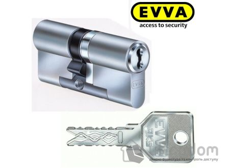Цилиндр дверной EVVA 3 KS KZ кл-вороток никель 122 мм