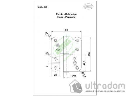 Дверная петля съёмная из нержавеющей стали AMIG m.425 100x88x3 мм