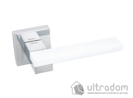 Ручка дверная на бесшовной розетке SIBA LEGO, белый - никель блестящий