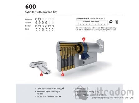 Цилиндр дверной с простым ключом AGB SCUDO 600 ключ-вороток 70 мм