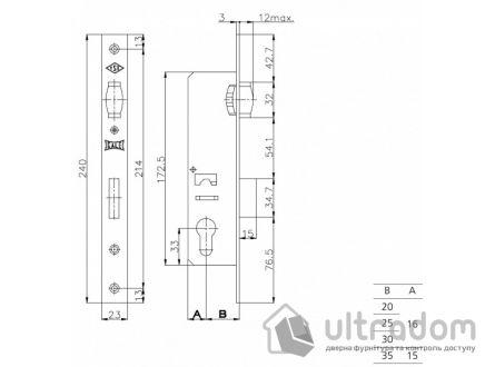 Корпус замка с роликом KALE 155-30 для алюминиевой двери.