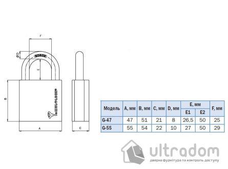 Навесной  замок Mul-T-Lock G55 H-27 мм Classic\Interactive+\MT5+
